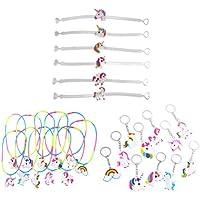 YeahiBaby 30 stücke Einhorn Schlüsselanhänger Armbänder Armband Halsketten Einhorn Birthday Party Bag Füllstoffe (Random Stil)
