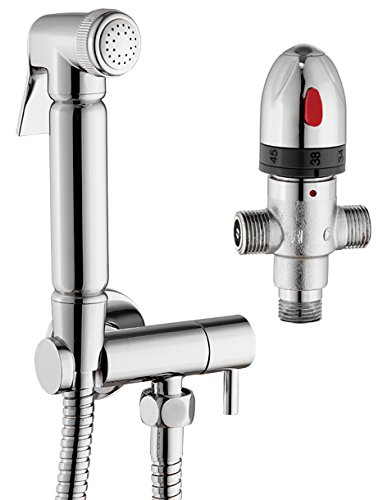 Douche Thermostatisch, Mischer WC-Kit Bidet chrom Messing Shut Off Ventil WAND montiert Set -
