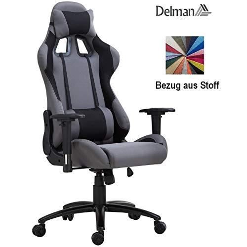 Delman Racing Bürostuhl Schreibtischstuhl Gaming Chair Drehstuhl Computerstuhl Stoff Bezug mit Kissen einstellbaren Armlehnen Ergonomisch höhenverstellbar 02-1016GR (Schwarz-Grau)