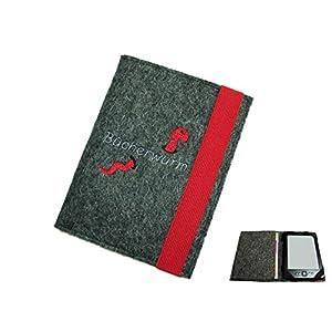 aufklappbare eBook Reader eReader Hülle Bücherwurm inkl. Stickerei aus Wollfilz, Maßanfertigung, Geschenk