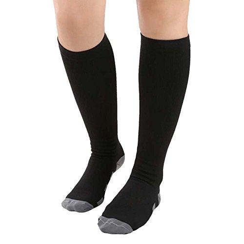 Moresave Sport Fitness Kompressionsstrümpfe Lange Socken über Knie Kompression Socken für Männer und Frauen (Spandex Uniform Crew)