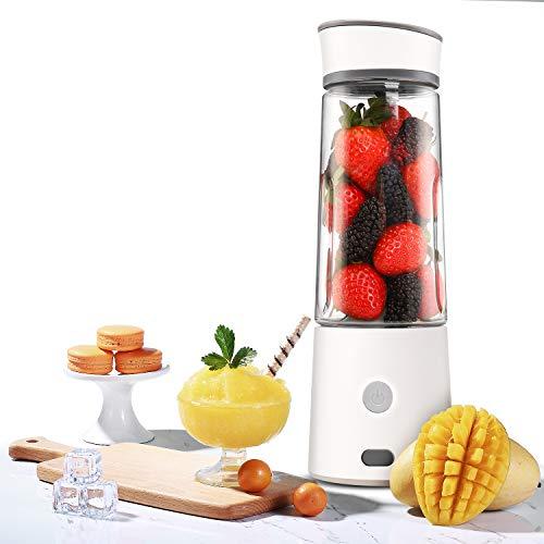 TTLIFE Frullatore Portatile Smoothie Maker Frullatore ricaricabile USB con miscelatore da 400ml, perfetto per frutta, frappè e alimenti per bambini, Certificato FDA/BPA, bianco