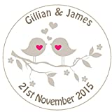 A4 sheet of 35 x ROUND PERSONALISED WEDDING OR ENGAGEMENT favour labels/stickers