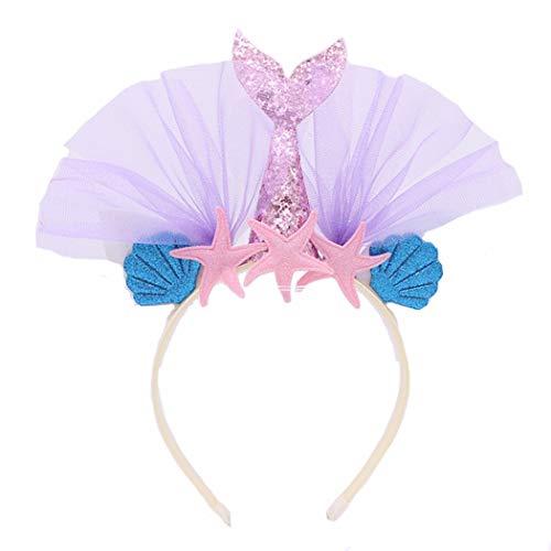 (dressfan Damen Mädchen Blume Stirnband mit Fischschwanz Stirnband Mädchen Party Stirnband Fisch Cosplay Kostüm Stirnband Mädchen Karneval Haarreif Kinder Süße Haarreifen Mit Ohren)