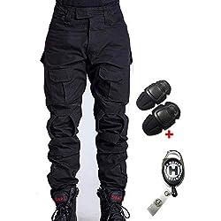 H Welt EU Pantalon militaire pour homme, pantalon avec genouillères pour jeux de stratégie, airsoft, paintball, tir, combat L noir