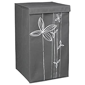 w schekorb mit deckel leicht und faltbar nat rlicher look farbe grau k che. Black Bedroom Furniture Sets. Home Design Ideas