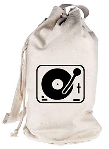 TURNTABLE/PLATTENSPIELER, DJ bedruckter Seesack Umhängetasche Schultertasche Beutel Bag, Größe: onesize,natur Ipod Rucksack