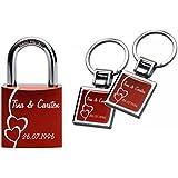 Gravurenalarm® Liebesschloss Rot inkl. 2 Schlüsselanhängern / Paaranhängern in gleichem Design