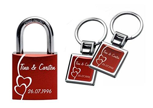 *Gravurenalarm® Liebesschloss Rot inkl. 2 Schlüsselanhängern / Paaranhängern in gleichem Design*