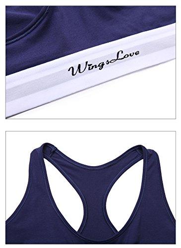 WingsLove Femme Soutiens-gorge de tous les jours En Coton Dos Nageur Sans Armatures Brassière Bleu marin