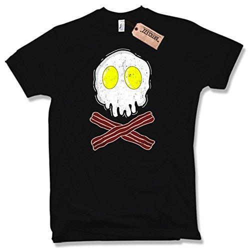 BREAKFAST SKULL T-Shirt, Bacon, Egg, Spiegelei, Totenkopf, verschiedene Farben, Gr. S - XXL Schwarz / Black