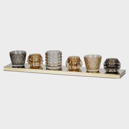 Bougeoir Lot de 6 Ambre Gris Bougeoir en verre sur socle Plateau Table Ornement Home Decor