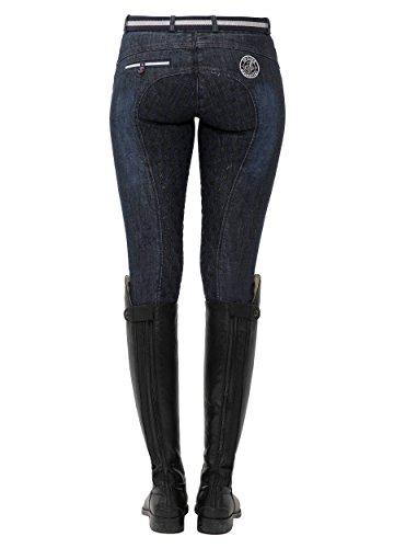 SPOOKS Reithose für Damen Mädchen Kinder, Jeansreithose Reithosen Leggings Turnierreithose - Lucy Full Grip Jeans - Denim XS