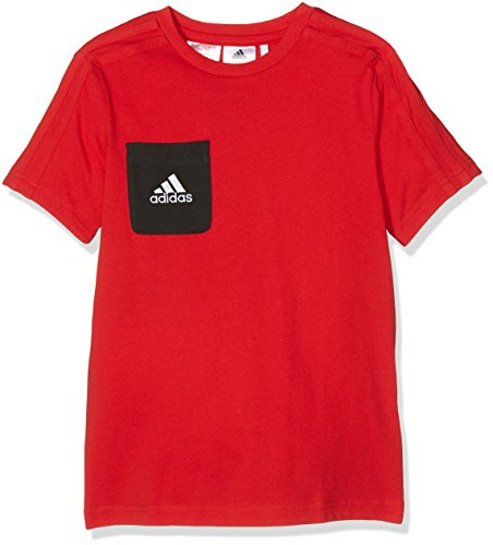 adidas Kinder Tiro 17 Kurzarm T-shirt Tiro 17, Scarlet/Black/White, Gr. 152 (Herstellergröße: 11-12 Jahre) - Adidas Polo-shirt Gestickte