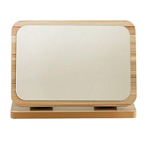 Restbuy Kosmetikspiegel Tischspiegel Standspiegel Spiegel klein mit Holz-Rahmen und Boden Spiegel für Makeup Rasieren Braun 27 x 20.5 cm