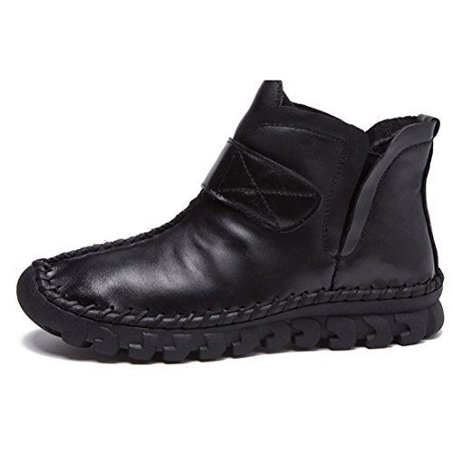 MatchLife Damen Vintage Leder Plissée Stiefel Kurze Boots Style3-Schwarz-Velvet