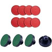 Easygame - Accesorios de Hockey de Aire para niños, 4 Unidades (Azul Oscuro), 8 Unidades (Rojo), Repuesto para mesas de Juego, Juego de Arcade