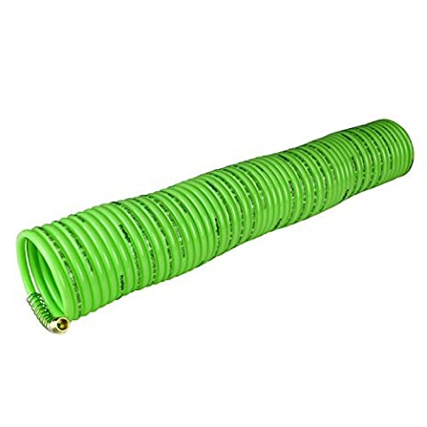 PowRyte 500040 Elite Nylon Recoil Air Hose - 1/4-Inch by 50-Feet, 1/4-Inch MNPT Brass Ends by PowRyte