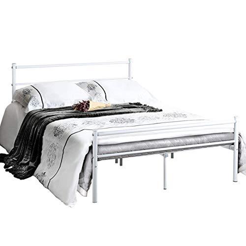 Aingoo Doppelbett Metallbettgestell Mit Lattenrost Gästebett Bettrahmen  Jugendbett Kinderbett Für Kinderzimmer Gästezimmer Schlafzimmer Bett In  Weiss