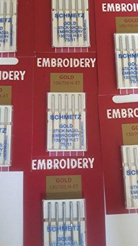 Schmetz: 50 Nähmaschinen Nadeln - Gold Titanium Embroidery - Stick Nadel Stärke 75/11