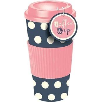 rosa blau gepunktete thermo isolierte tee kaffee tasse. Black Bedroom Furniture Sets. Home Design Ideas