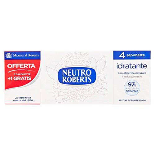 Neutro Roberts - Saponette Neutre, Extra Idratante, Con Glicerina Naturale, Per Pelle Morbida - 400 G  4 Pezzi