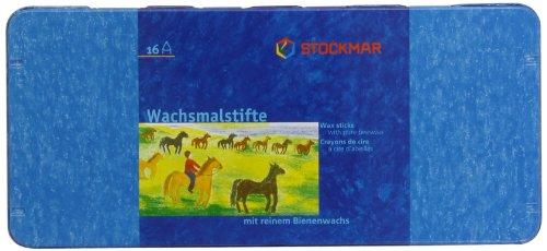 Preisvergleich Produktbild Stockmar 204884216 Wachsmalstifte (16 Stifte, wasserfest, papergewickelt, aus Bienenwachs, im Blechetui)