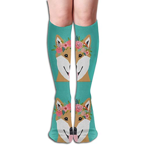 Women's Fancy Design Stocking Shiba Inu Dog Pillow With Cut Lines - Dog Pillow Panel, Dog Pillow, Pillow Cut And Sew - Floral Multi Colorful Patterned 50CM(19.6Inchs) Knee High Socks - Stance-tank