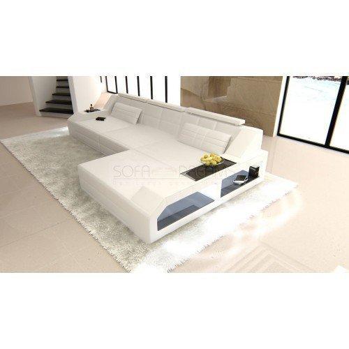 CANAPÉ EN CUIR AREZZO l-forme blanc Canapé d'angle design avec LED