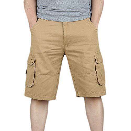 Aiserkly Herren Sommer Baumwolle Multi-Pocket Overalls Shorts Cargo Kurze Arbeitshose Pleated Freizeithose