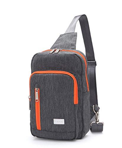 Tinyat Sling Canvas Bag Shoulder Chest Pack Casual Crossbody Travel Shoulder Bag for Women Men T601, Gray