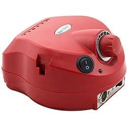 Crisnails® Torno de Manicura Profesional de 30.000 RPM con 6 fresas Peluquería MultiColores Nail Polisher (Rojo)