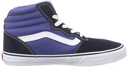 Vans Milton Hi, Baskets Hautes Garçon Bleu (Suede Canvas/Navy)