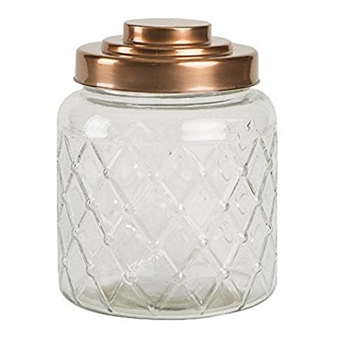 Lattice Glass Jar with Copper Finish Lid 2.6ltr - Vintage Glass Storage Jar