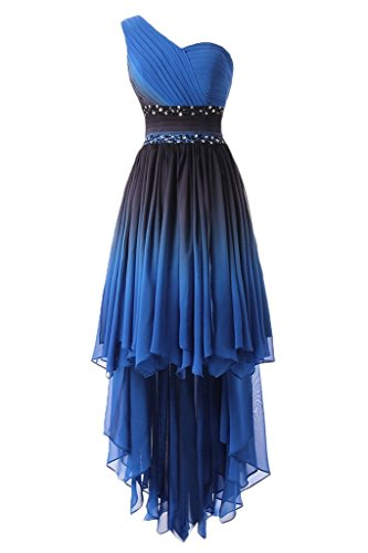 HUINI Elegante Abendkleider Lang Trägerlose One Shoulder Empire Chiffon Ballkeid Festkleid High Low 34 -