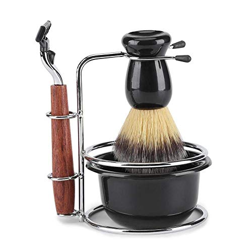 4Pcs Rasierset Kit Pinsel Set Rasierpinsel mit Edelstahl Bürstenständer Halter Rasierapparat Rasierseife Schüssel für Männer manuelle Rasur - Klassisches Rasierset
