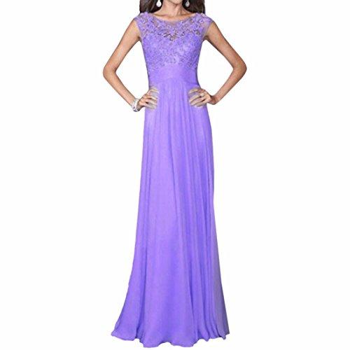 Round Neck Lace creux en mousseline de soie Retour Zipper Slim Robe longue Robes Femmes coton Violet