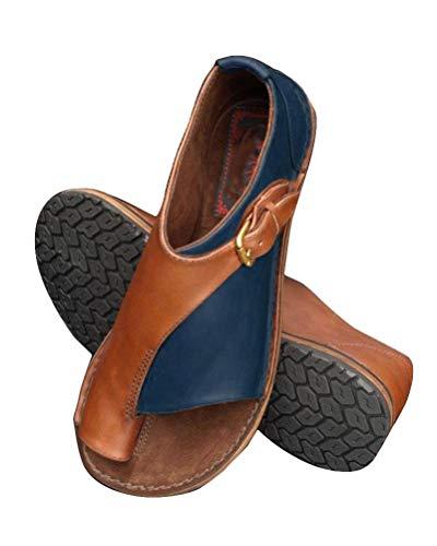 ORANDESIGNE Frauen Bequeme Plattform Sandale Schuhe Sommer Strand Reise Schuhe Blau 39 EU