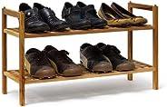 Relaxdays schoenenrek walnoot stapelbaar h x b x d: 40,5 x 69 x 26 cm schoenenrek met 2 planken voor ca. 6 paar schoenen hou