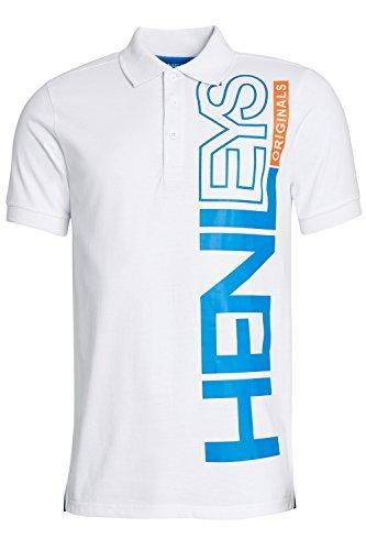 Herren Henleys Designer Hyperbolish Freizeit Polohemd Kragen Piqué Oberteil Kurzärmelig T-shirt Crowder - Optic White