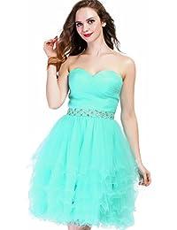 Fashion Plaza Pompös Glänzend Herz-Außschnitt vielschichtige Röcke Mini Cocktailkleid Partykleid Brautjunfern mit Straßstein und Rüschen D0235
