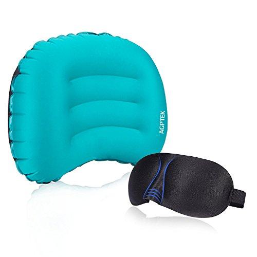 Ultraleichtes Camping Kissen, Aufblasbares Reisekissen, Komprimierbares Nackenkissen, Camping Pillow für Camping, Reise, Wandern, Outdoor, mit 3D Schlafmaske, von AGPTEK, Blau
