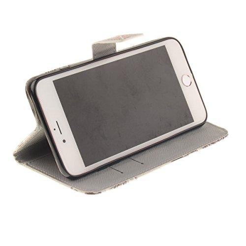 iPhone 7 Plus Coque, Apple iPhone 7 Plus Coque, Lifeturt [ Enveloppes Londres ] Motif Pure Couleur Housse en Cuir Case à Avec La Fonction Stand Coque de Intérieure Protection Souple Coque Portefeuille E2-Enveloppes Londres