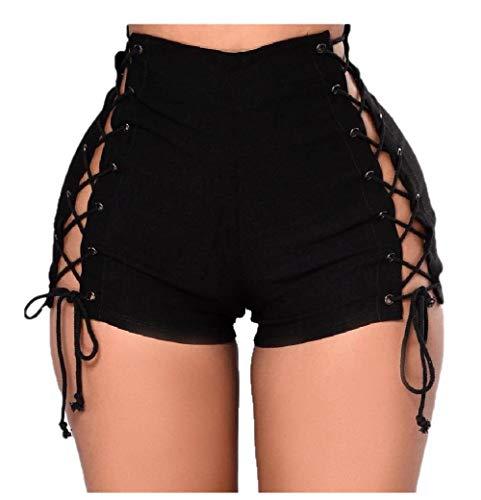 Andode Women Bandage Mid Length Short Denim Black Mini Jean Denim Shorts AS1 L
