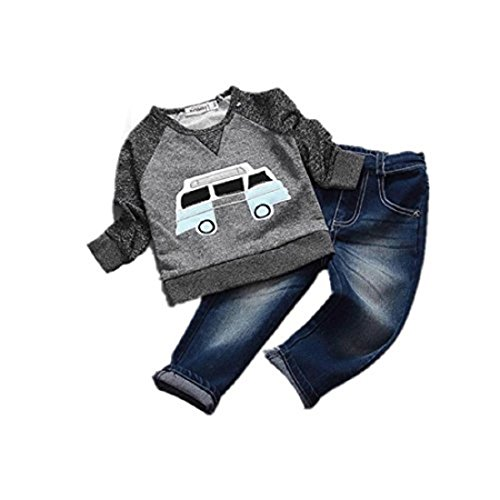 For 2-6 Years Old Internet Toddler Boys Clothes Car Print T-shirt Tops+Long Jeans Trousers (4-5 Years, Grey)