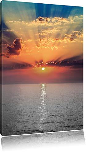 bezaubernder Sonnenuntergang über dem Meer schwarz/weiß, Format: 60x80 auf hochkantiges Leinwand, XXL riesige Bilder fertig gerahmt mit Keilrahmen, Kunstdruck auf Wandbild mit Rahmen, günstiger als Gemälde oder Ölbild, kein Poster oder Plakat