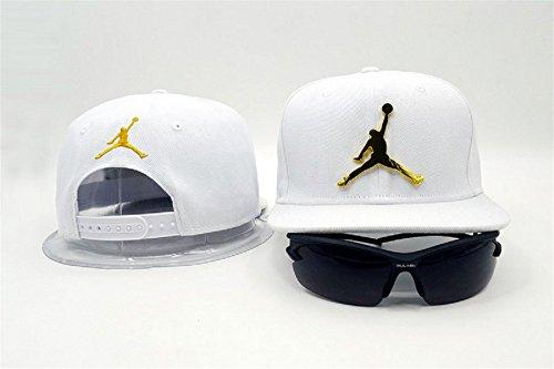 Cappello Air Jordan regolabile Hip Hop Sport Fans Hyst Unisex eresen Logo cappellino da Baseball (bianco, nero)