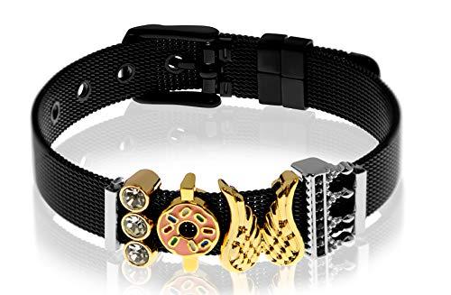 Entzückt - Mesh Armband Frauen   Individuelle Anhänger   Charms austauschbar   Edelstahl   Charmband Set   Schmuck   Silber Rosegold Gold Schwarz (Diva - Schwarz)
