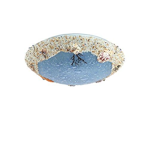 18w Laterne (YZHB LED-Lampen Persönlichkeit Kreativ Shell Deckenlampe Metall Glas Lampenschirme Restaurant Schlafzimmer Kinderzimmer Und Laternen Deckenleuchten Warmes Licht Ø40CM 18W)