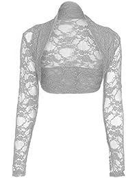 Janisramone femmes manches longues dentelle haussement d'épaules boléro cardigan cropped top